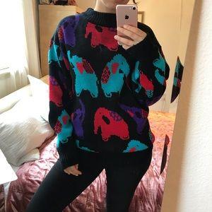 Vintage Sweaters - VINTAGE Elephant Sweater Dress (M) 🐘
